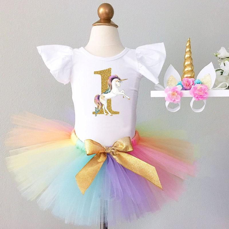 ec808f403 First 1st Birthday Outfits Baby Baptism Clothes Girl Party Wear Kids  Clothing 2 Years Tutu Infant Baby Girl Christening Suits