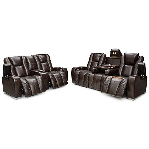 Barcalounger Griffith Home Theater Seating Multimedia Leather Sofa And Loveseat Set With Recline Ed