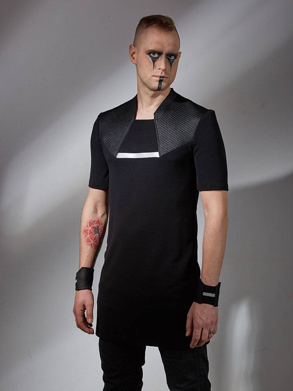 b5327c043a Futuristic clothing black long shirt cyberpunk shirt mens long shirt ...