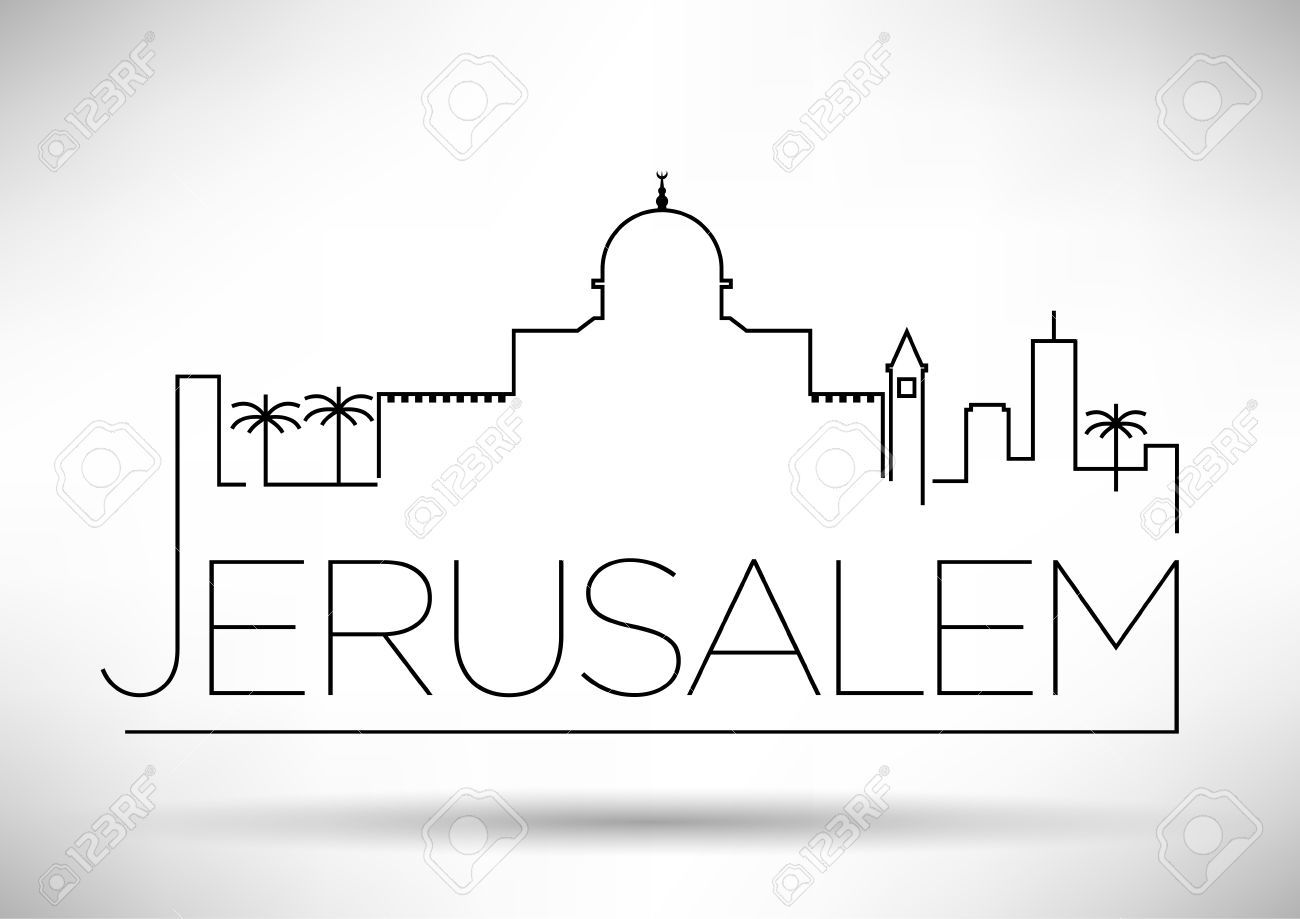 Line Drawing Jerusalem : Jerusalem city line silhouette typographic design diy
