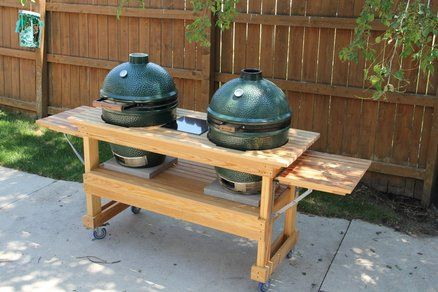 Custom Big Green Egg Double Table From Cypress Big Green