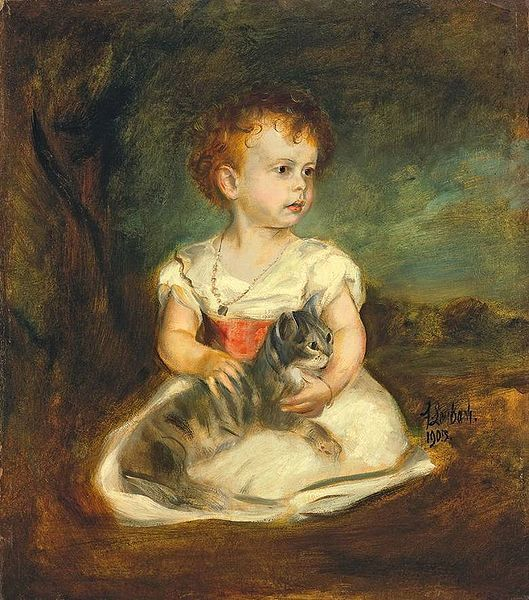 Little Girl With Cat - Franz von Lenbach (1836 – 1904,German)
