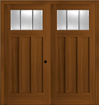 Fiberglass Craftsman Style 3 Lite Double Entry Doors In Textured Stain Ready Oak Finish Exterior Door Hardware Double Entry Doors Front Entry Doors