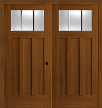 Fiberglass Craftsman Style 3 Lite Double Entry Doors In Textured