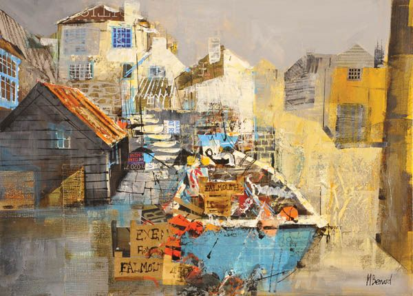 Harbour Cottages Port Loe 16x20 With Images Mike Bernard Seaside Art Boat Painting