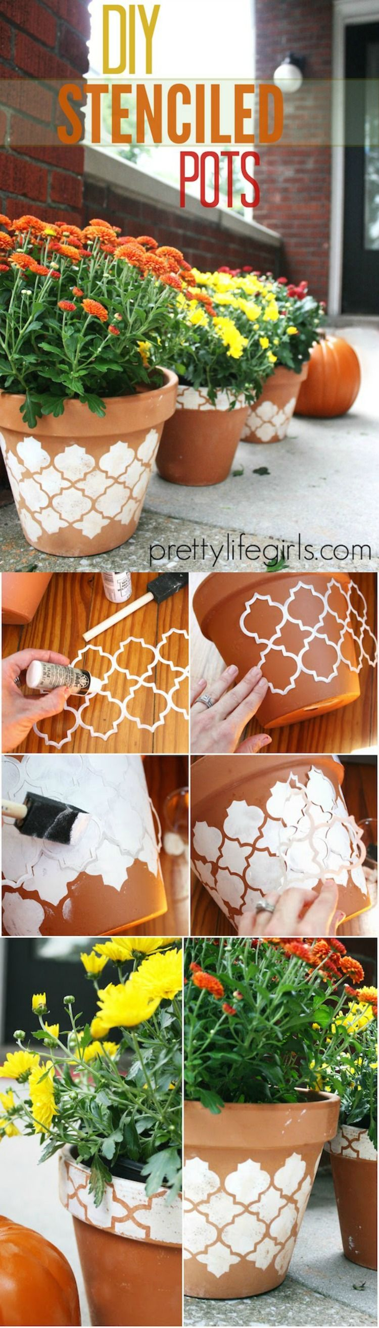 How to Stencil a Clay Pot - DIY Candy