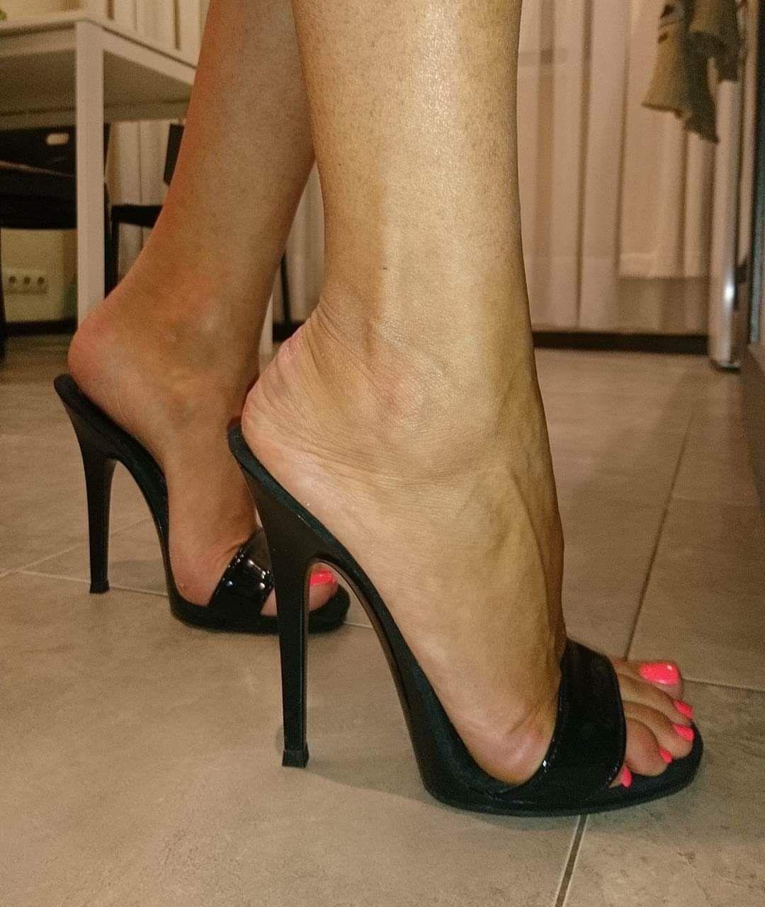 #mules   Shoes   High heels, Heels, Sexy legs, heels