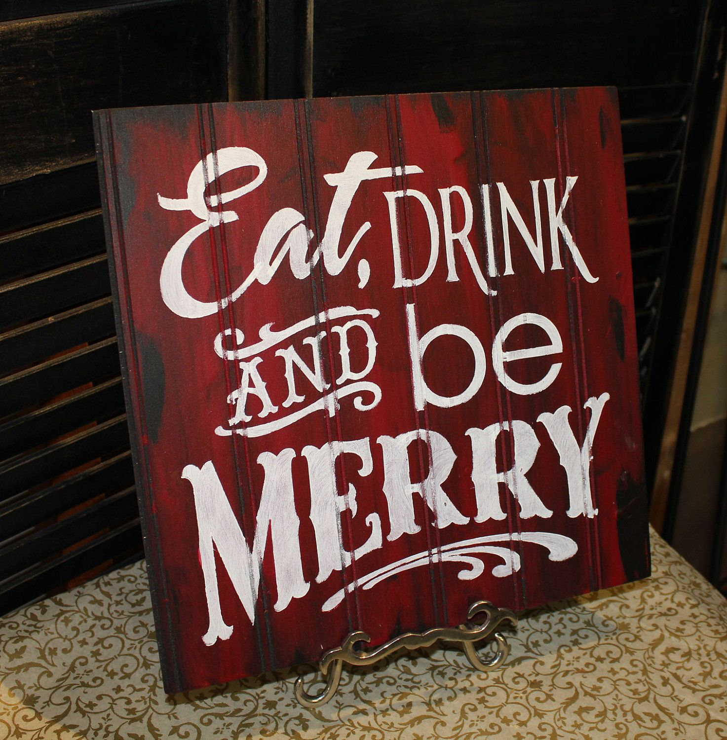 Eat Drink And Be Merry Sign Christmas Sign Red White Christmas Party Decor 19 95 Via Etsy Christmas Signs Christmas Party Decorations White Christmas Party