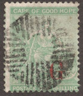 """Griqualand West  1877 Scott 15 1sh green Overprinted red """"G"""" on Cape of Good Hope"""