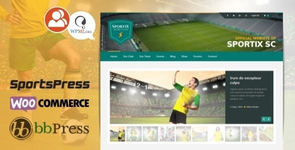 SPORTIX  WordPress SportsPress Theme for Sport Clubs  Sportix is a WordPress theme for sports clubs powered by SportsPress Sports Club League Manager plugin You can easil...