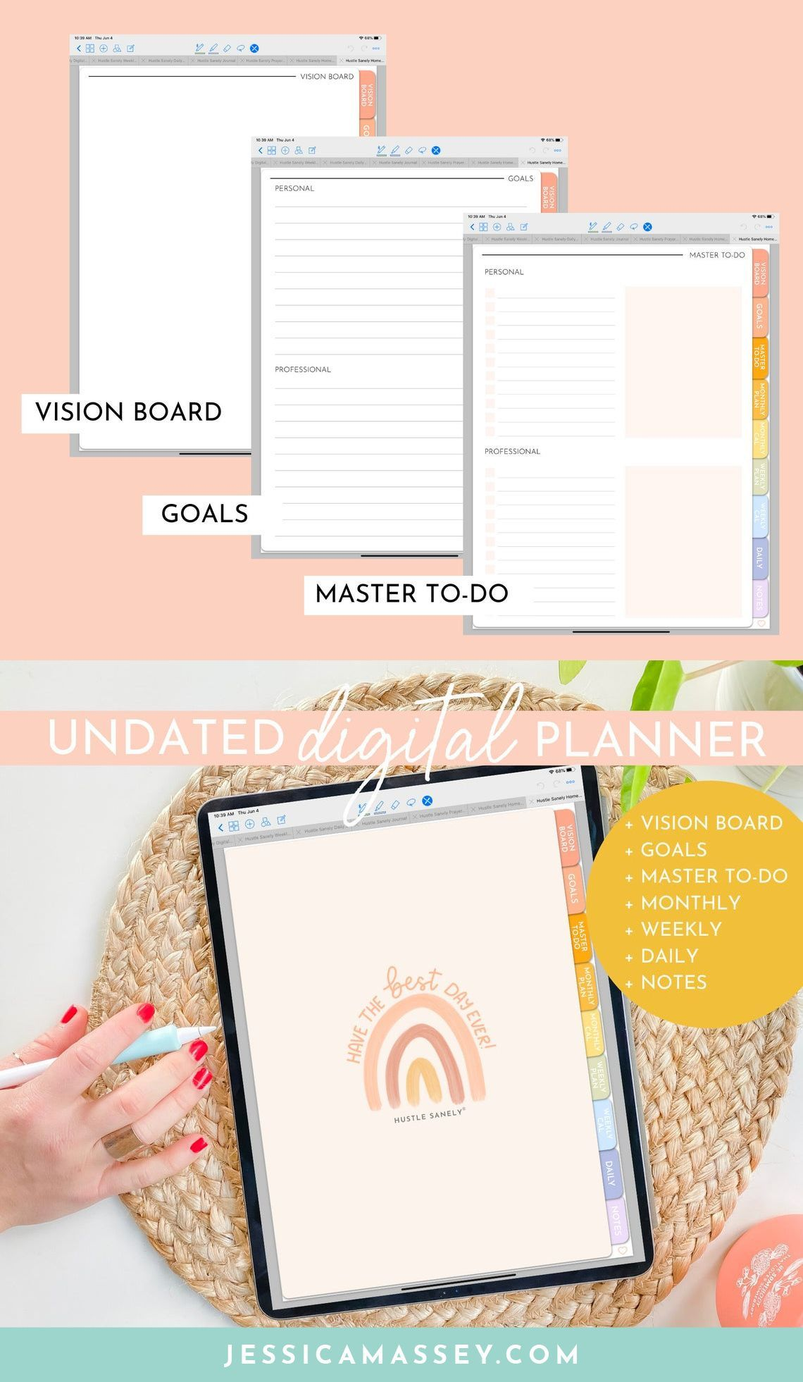 Digital Planning For Ipad Goodnotes App Undated Digital Planner Planning Organization In 2020 Digital Planner Planner Vision Board Planner