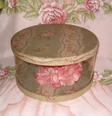 Antique Vintage Cloth Green Print Fabric Covered Ladies Hat Box I Have Had This Box Love It Vintage Hat Boxes Vintage Box Hat Boxes