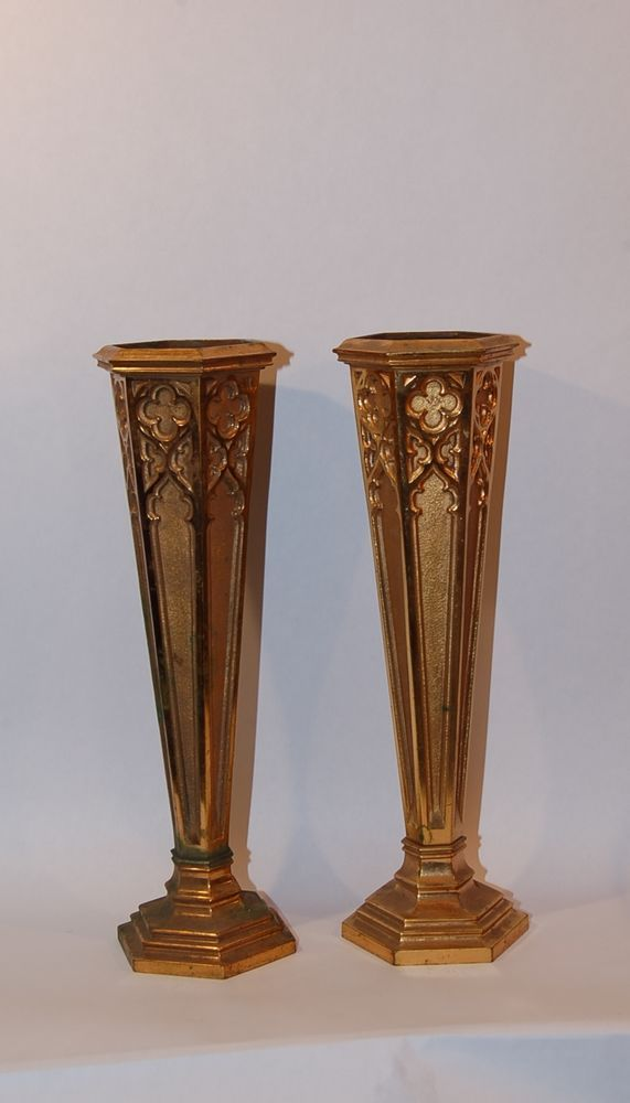 Antique American Gilded Gothic Religious Bronze Pair Of Flower Vases