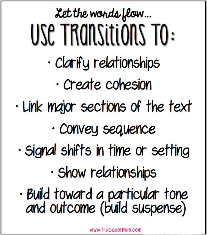 Common Core Tips: Using Transitional Words in Writing