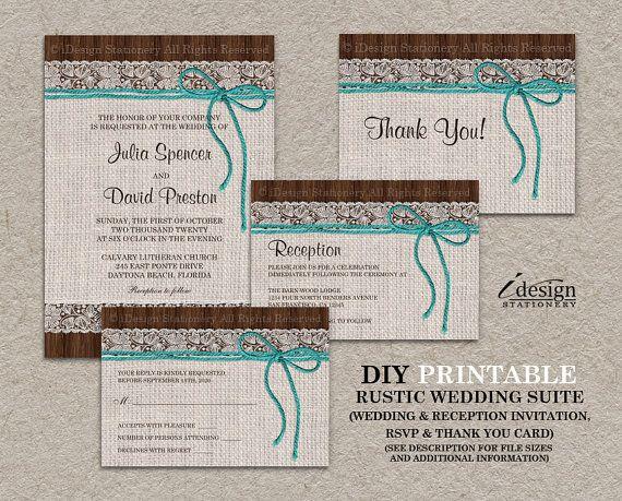 DIY Printable Rustic Turquoise Wedding Invitation Kits By