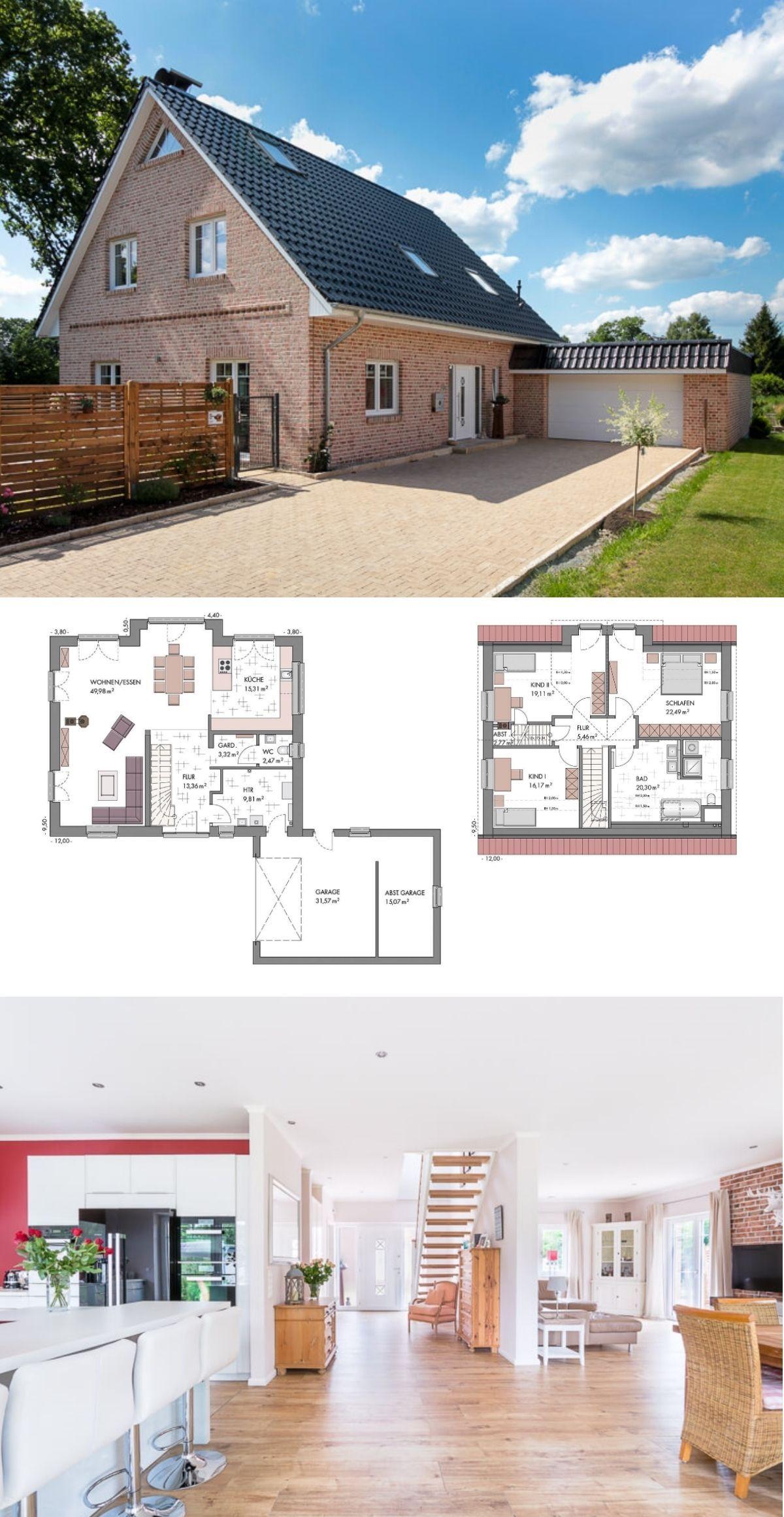 einfamilienhaus mit garage satteldach klinker fassade im landhausstil massivhaus bauen. Black Bedroom Furniture Sets. Home Design Ideas