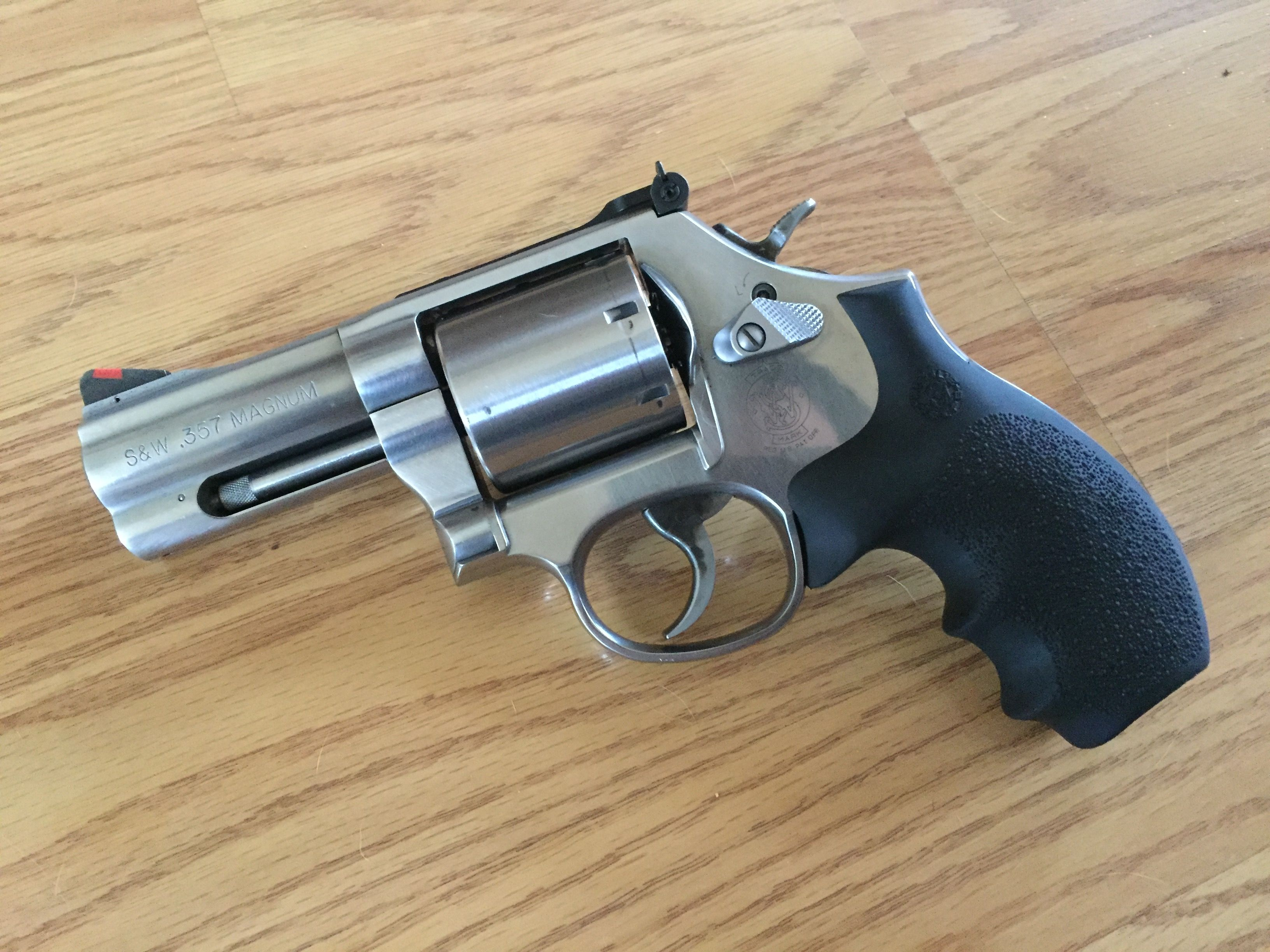 Smith and Wesson 686 plus 3 inch w/ hogue bantam grips  My