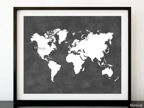 Black And White World Map Framed.Grey Printable World Map Distressed Vintage Texture Map Print