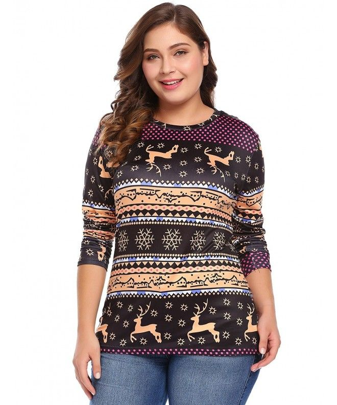 14f4569f22a Women s Plus Size Long Sleeve Print Shirt Round Neck Christmas T-Shirt  Casual Blouse Tops - Black - CT187E9057T