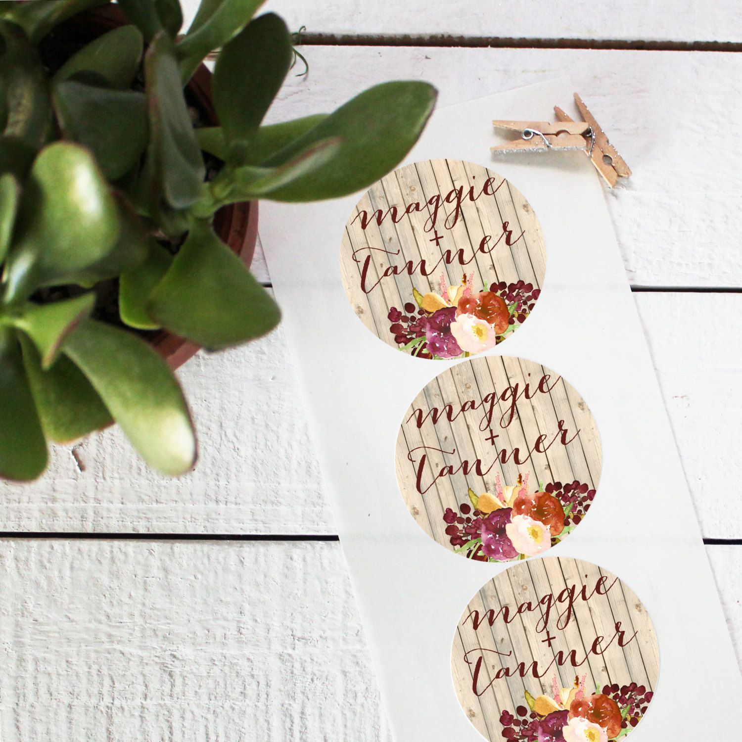 Wedding Favor Labels - Fall Rustic Design - Round - Fall Favor ...