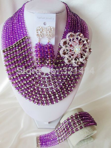 Fashion Nigerian African Wedding Beads Jewelry Set With Brooch Purple and Silver Crystal Necklace Bracelet Earrings CRB-1406 $58.03