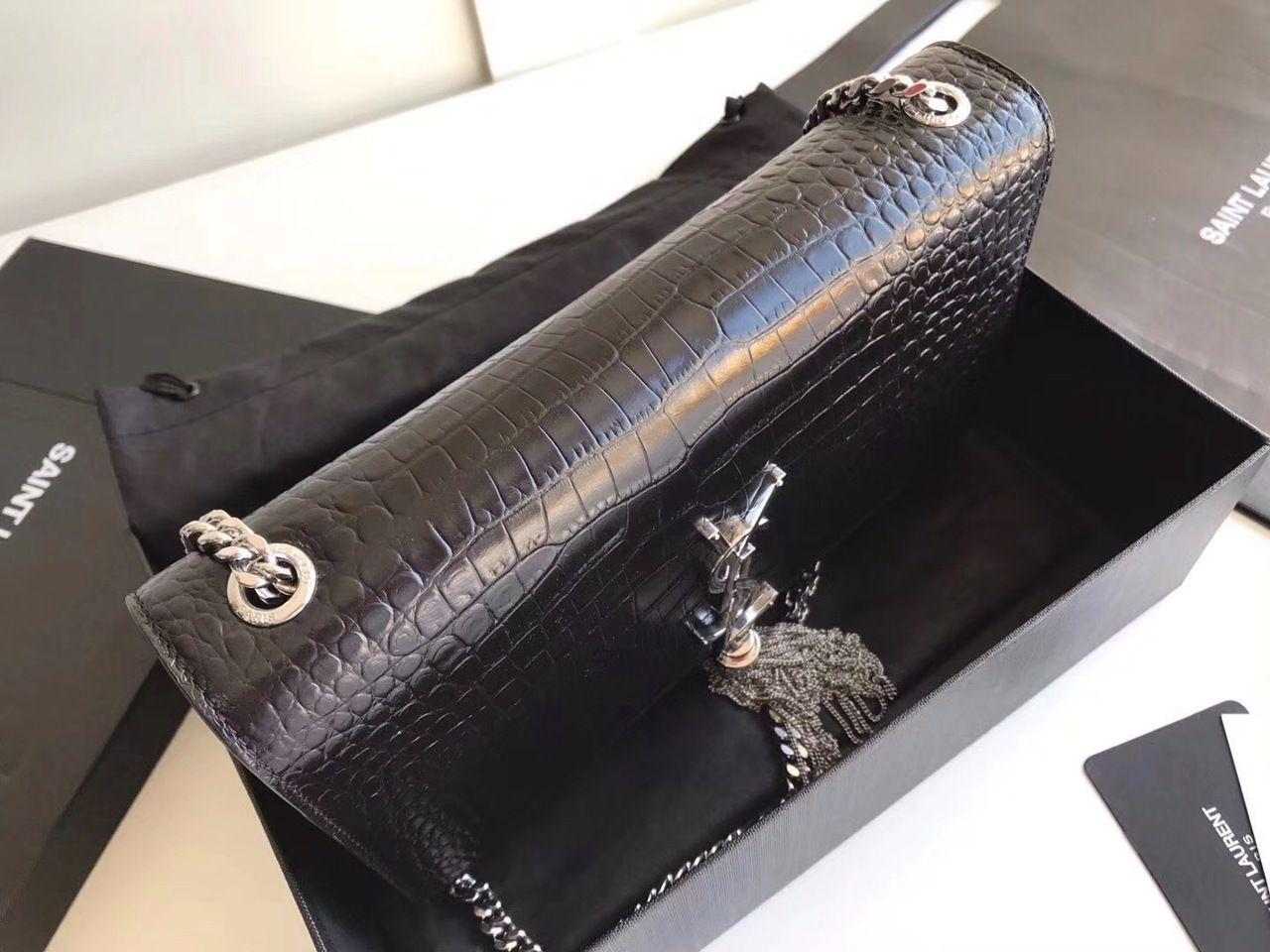 6ba91c432ad Saint Laurent CLASSIC MEDIUM KATE TASSEL SATCHEL IN BLACK CROCODILE  EMBOSSED SHINY LEATHER WITH SILVER HARDWARE - Bella Vita Moda #ysl bag  #ysllover ...