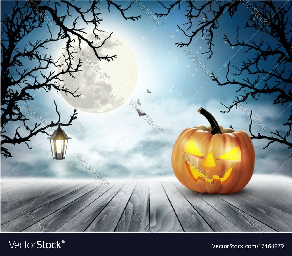 Scary halloween background with pumpkin and moon Vector