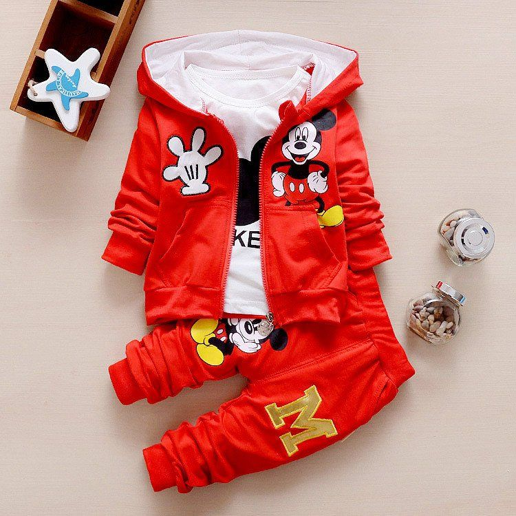3Pcs Mickey Mouse Boys Girls Zip Hoodie Coat/&T-shirt/&Pant Kids Tracksuit Outfits