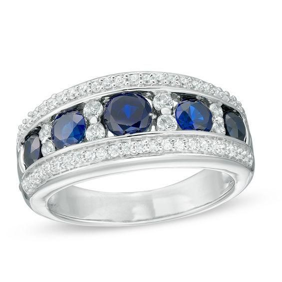 Zales Lab-Created Blue Spinel Scallop Vintage-Style Ring in Sterling Silver dMr8C