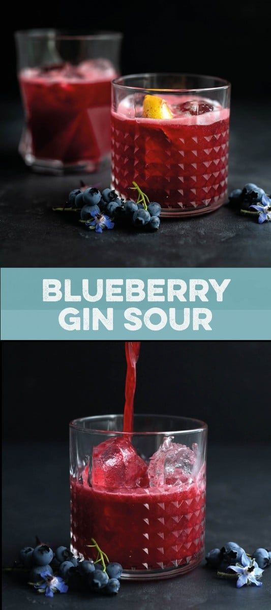 Blueberry gin sour cocktail: refreshing, pretty, and the perfect balance of sweet and tart. #blueberryginsour #cocktails #cocktailhour #happyhour #gin #bestgincocktails