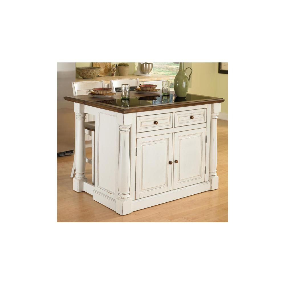 Monarch Kitchen Island With Granite Top And 24 Stools Home Styles Hs 5021 948 Stools For Kitchen Island White Kitchen Island Kitchen Furniture