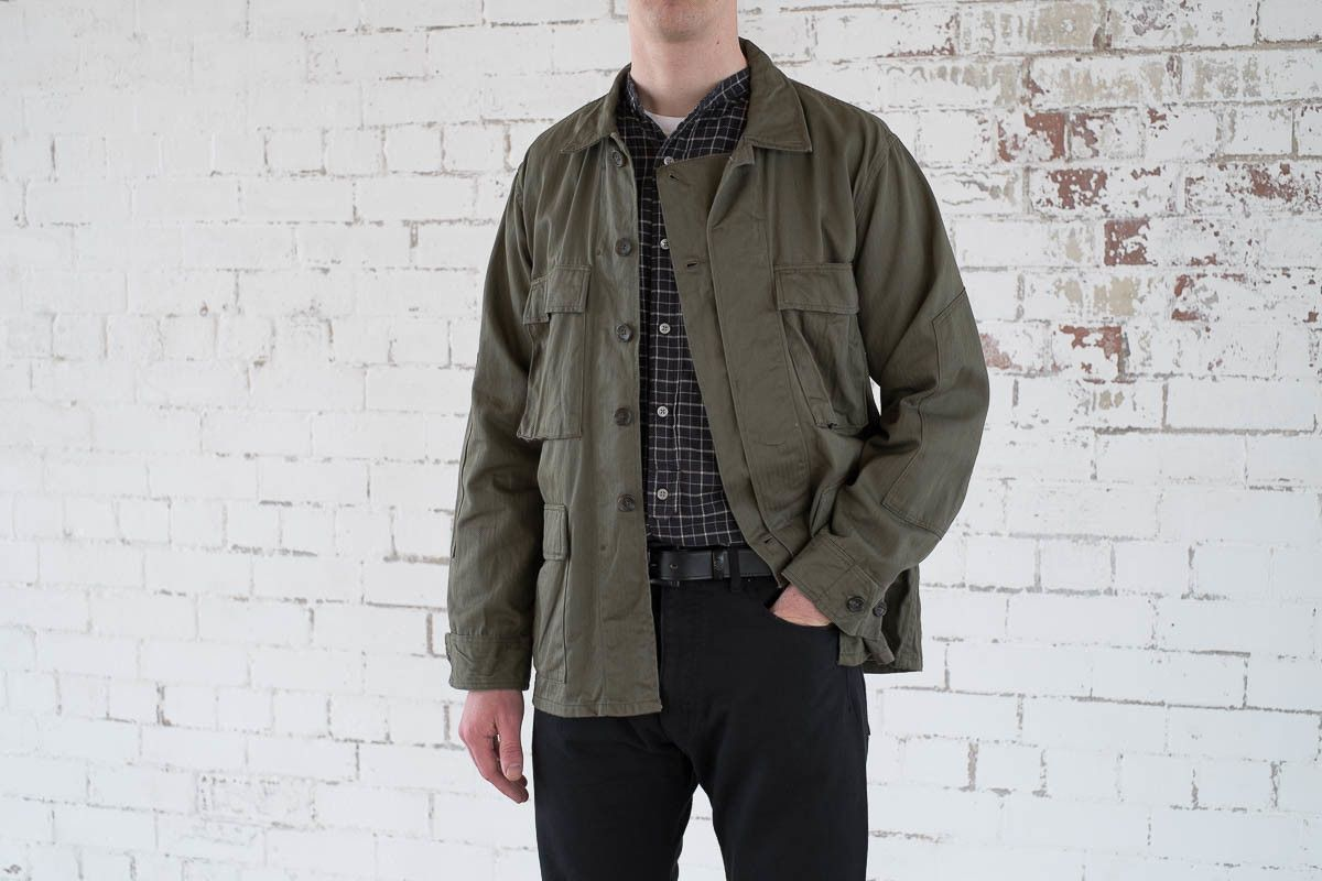 Olive cotton herringbone bdu shirt by engineered garments for Bureau belfast