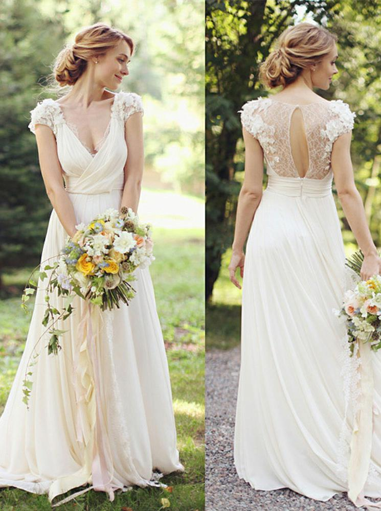 37c4951223 Feature:beach wedding dresses chiffon,boho wedding dresses beach,beach  wedding dresses romantic. This beautiful chiffon wedding dress is featuring  ruched ...