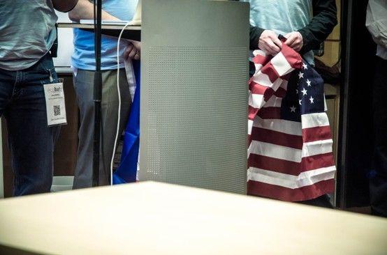 Team reciprocity's american flag.