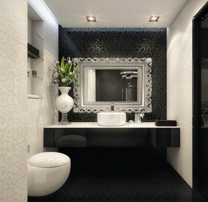 badfliesen luxuriös badspiegel ornamente blumen Wohnen - badezimmer schwarz weiß