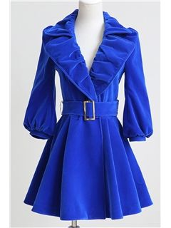 Royal Blue Pleated Lapel Overcoat