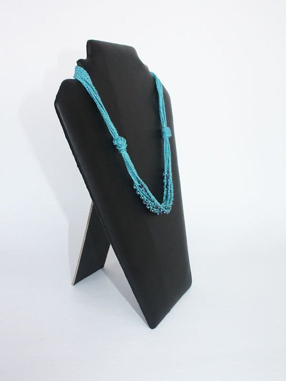 Teal blue linen necklace crocheted with glass beads by boorashka, $18.00