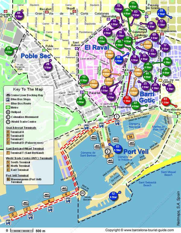 Map Of Spain Near Barcelona.Hotels Near Cruise And Port Terminals In Barcelona Barcelona And