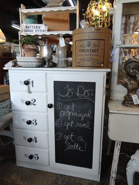 blackboard cupboard against a white chest