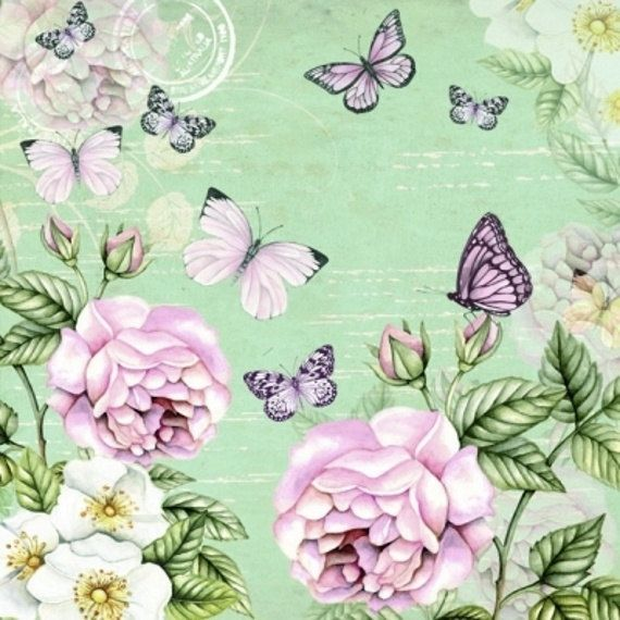 Decoupage servilletas 4 piezas jardín botánico por LanternsByTamara
