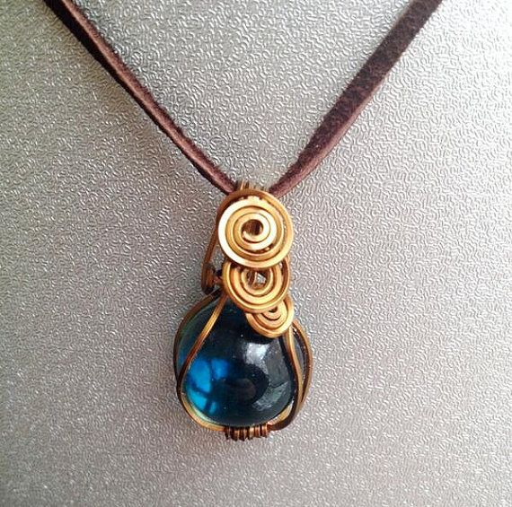Copper Wire Wrapped Glass Beautiful Blue Marble by CraftsbyLayna, $10.00