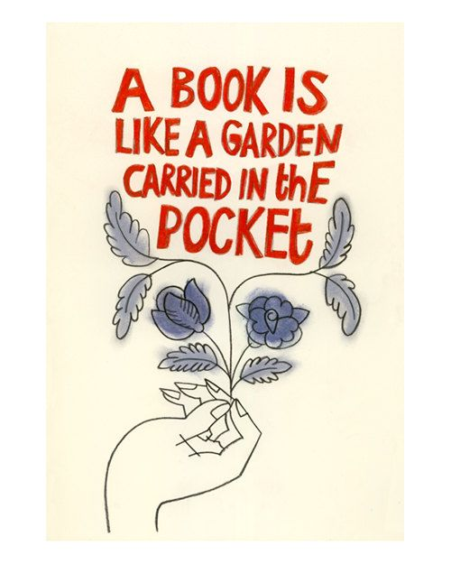 Typography illustration print - A book is like a Garden Carried in the Pocket by Samantha Battersby