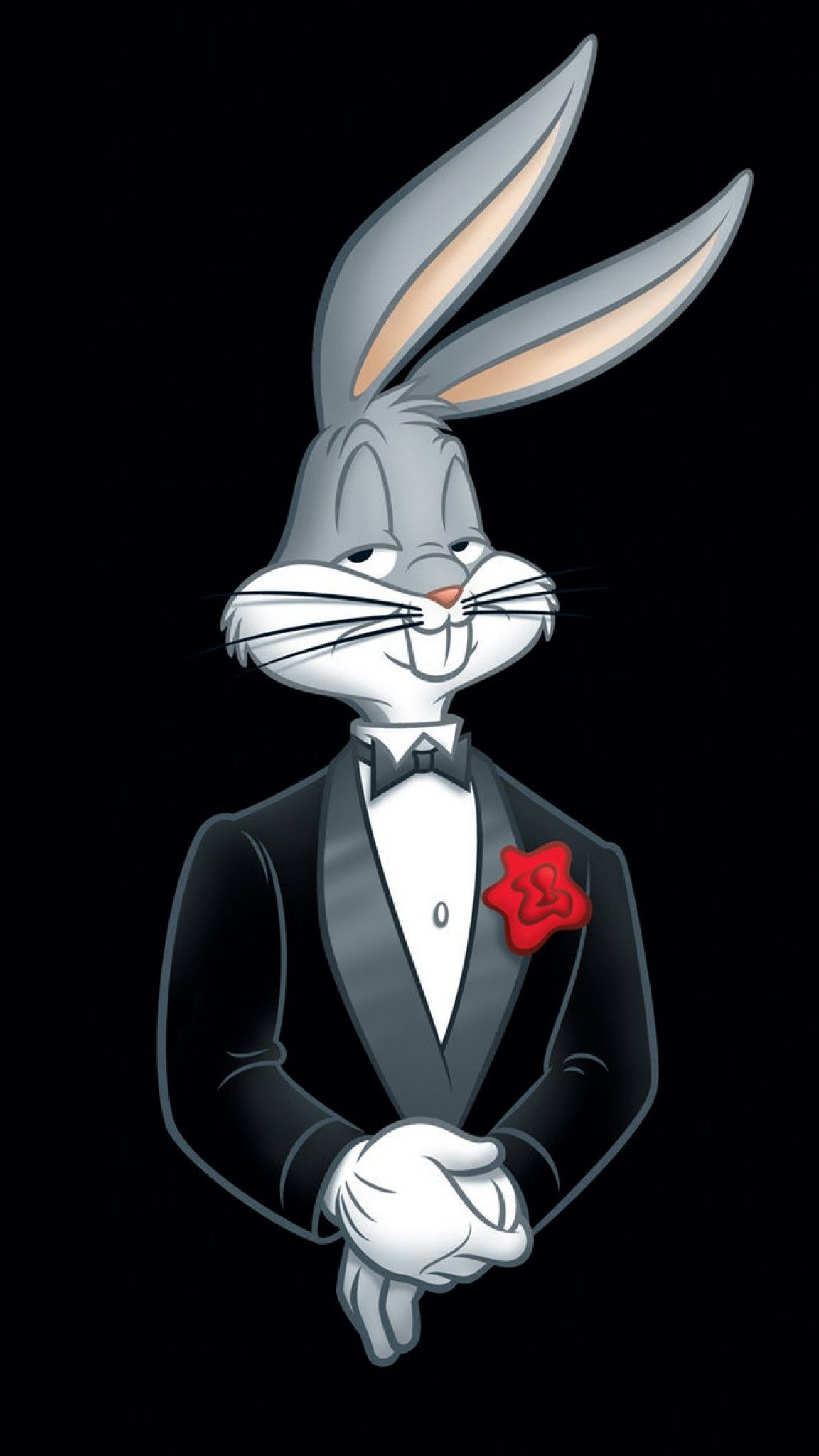 looney tunes, bugs bunny, rabbit, tuxedo, flower 4k, sony xperia z5