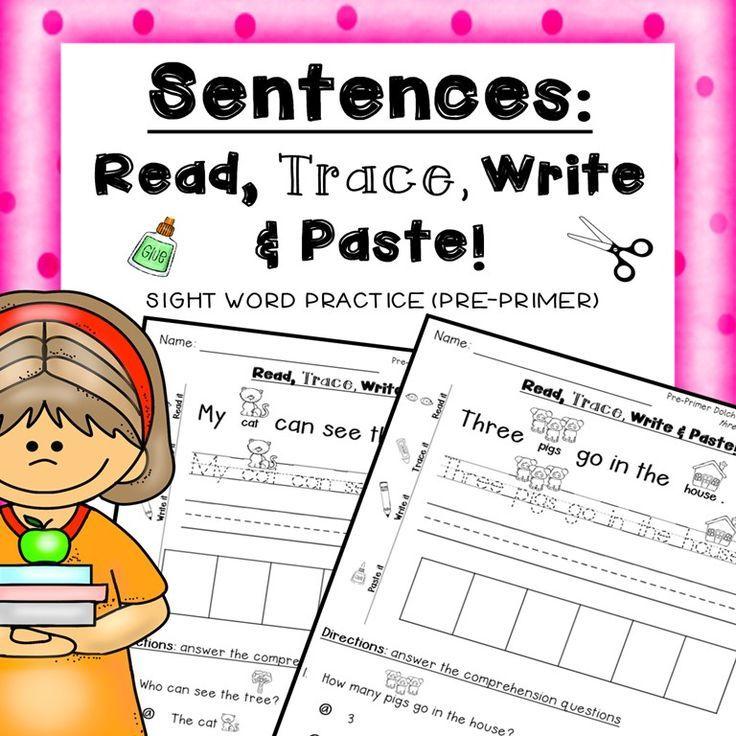 Sentences: Read, Trace, Write & Paste sight words PRE-PRIMER | Kind