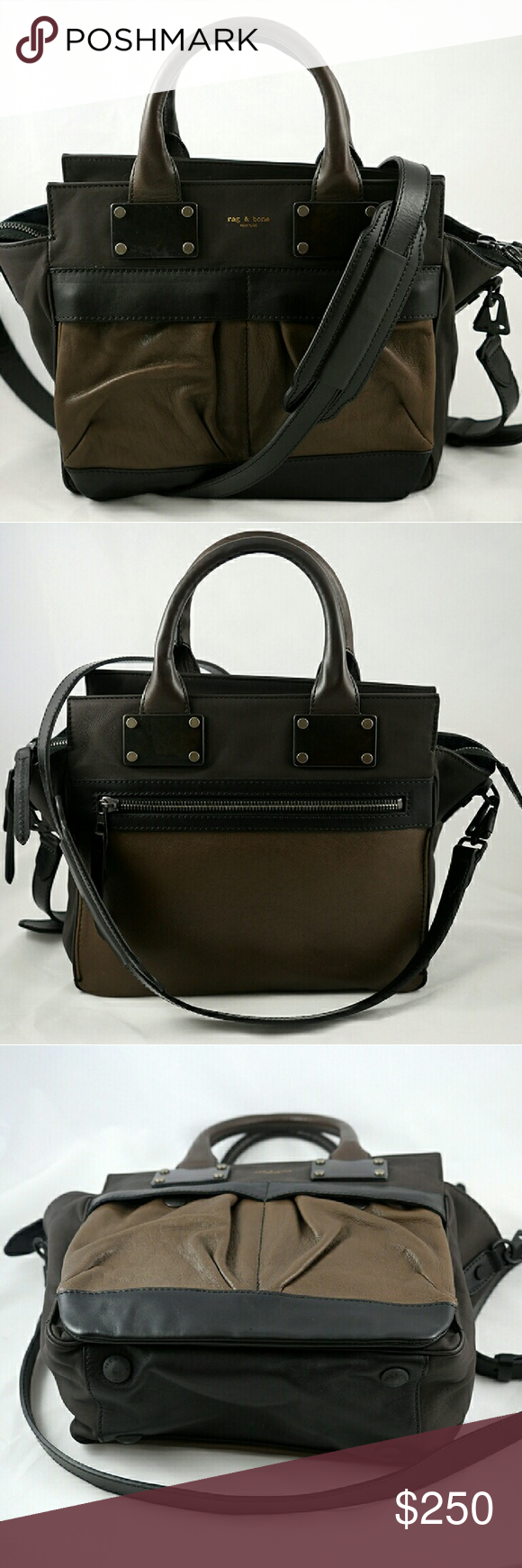 Rag and Bone Small Pilot Bag in Mocha Made in Italy. Black and brown handbag with detachable shoulder strap. Embossed logo on the front, lots of zippers and pockets, with feet on the bottom and round top handles. Used bag in excellent condition, does not have dust bag. Rag & Bone Bags