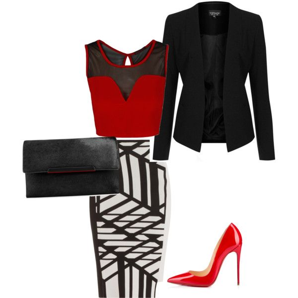 A fashion look from February 2015 featuring Topshop blazers, Roland Mouret skirts and Christian Louboutin clutches. Browse and shop related looks.