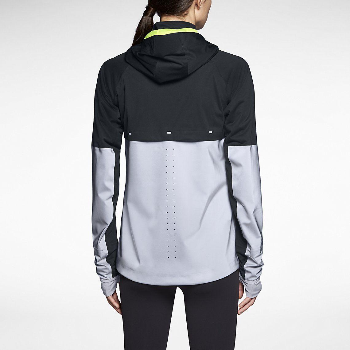 nike womens vapor running jacket white/silver plastic spray