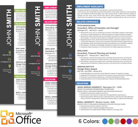 OFFICE Resume Template - Trendy Resumes Presentations - microsoft word resume template for mac