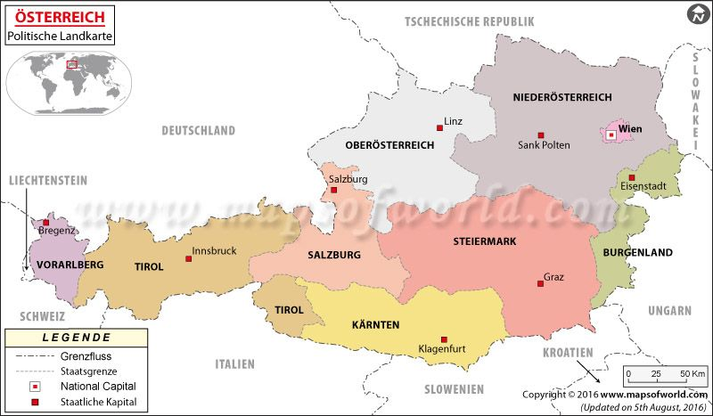 Check out this map of Austria in German. For more maps