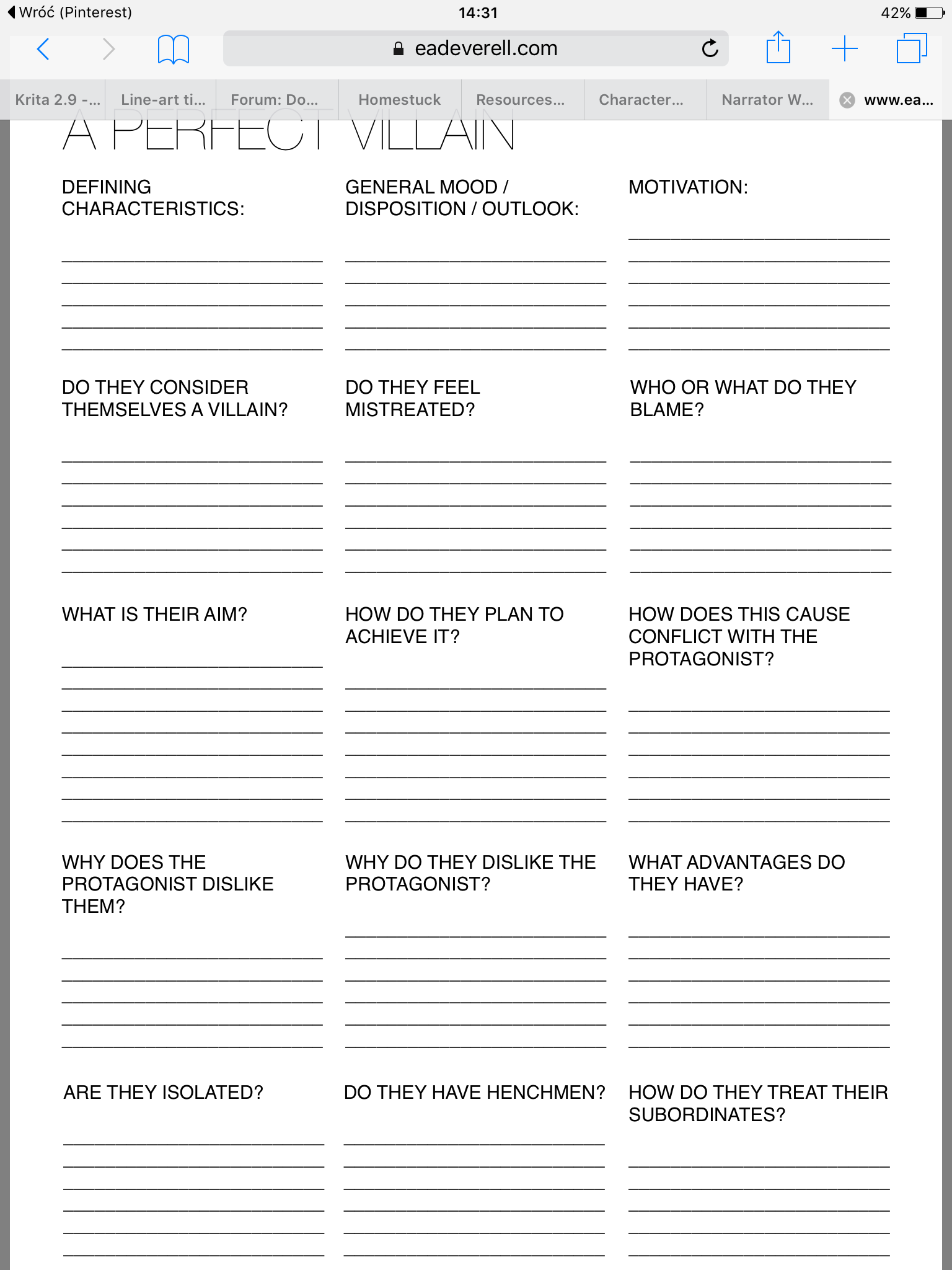 Villain Worksheet
